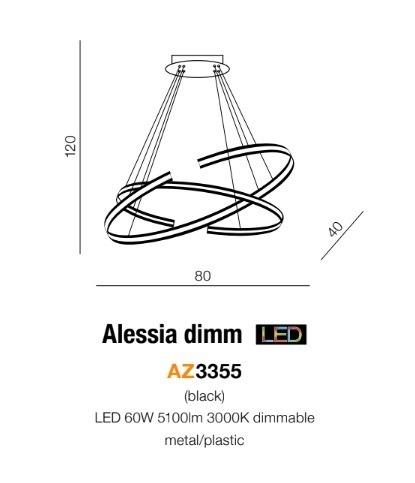 Azzardo Alessia AZ3355 Lampa wisząca 60 W LED czarna