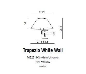 Azzardo Trapezio MB2311-S WH Kinkiet