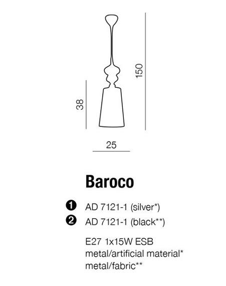 BAROCO AD 7121-1 Silver Lampa Wisząca AZZARDO