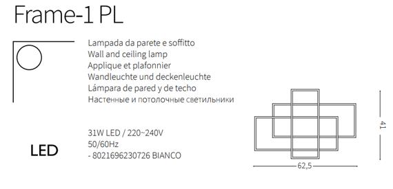 Ideal Lux Frame-1 PL Plafoniera LED do salonu w kolorze białym