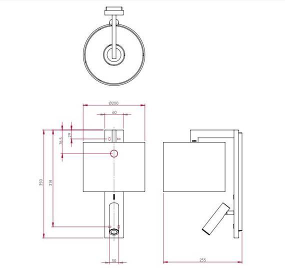 Lampa ścienna Astro Ravello LED Reader 1222018 + 5030004 z kloszem