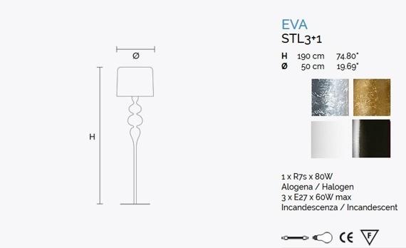 MASIERO Eva STL3 +1 Lampa Stojąca złota