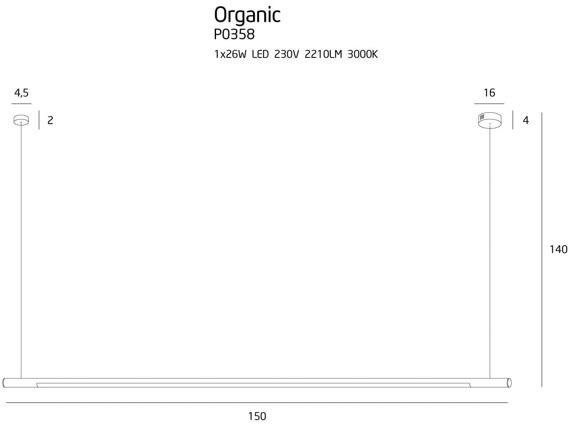 MaxLight Organic Black P0358 Lampa wisząca podłużna