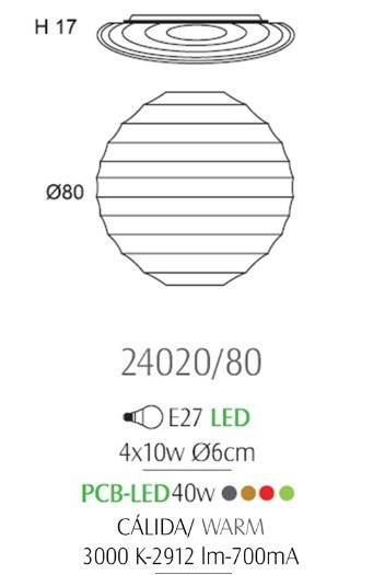 OLE Snow 24020/80 Lampa Sufitowa 80 cm