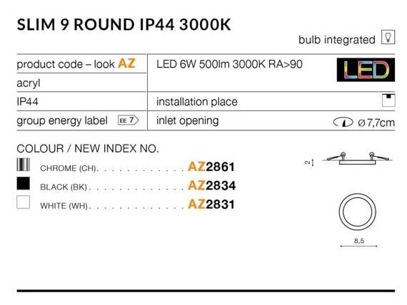 Oprawa Do Zabudowy Azzardo Slim 9 Round AZ2861 Chrom 3000K