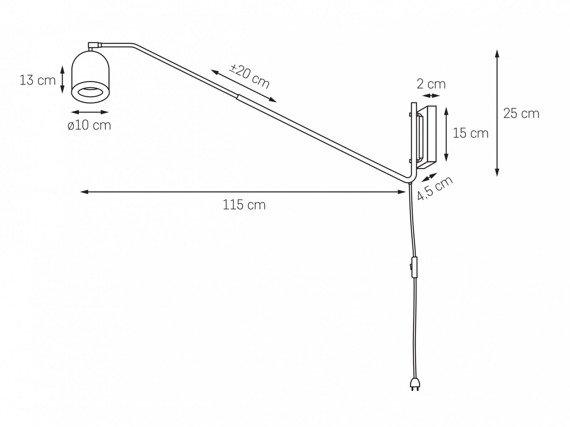 Oprawa ścienna na wysięgniku z przewodem i wyłącznikiem Kaspa Puro 20813101
