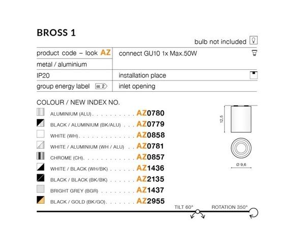 Oprawa sufitowa Azzardo Bross blak/gold