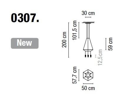 Zwis Wireflow 0307-04 Vibia czarna 50 x 57,7 cm